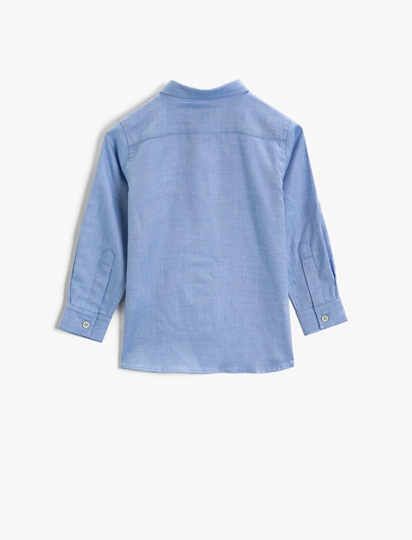 Pamuklu Gömlek Klasik Yaka Uzun Kollu Cepli Basic