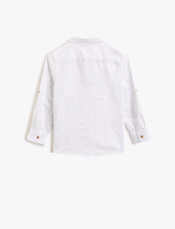 Klasik Yaka Pamuklu Arma İşlemeli Uzun Kollu Gömlek