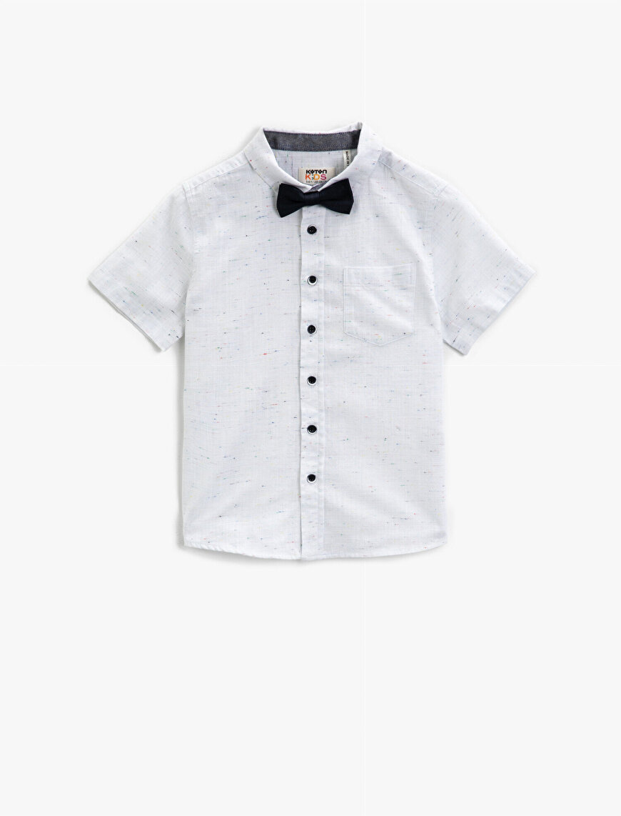 Short Sleeve Shirt Classic Collar Cotton Bowtie