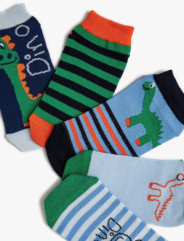 Erkek Çocuk Dinazorlu Çorap Seti Baskılı Çizgili