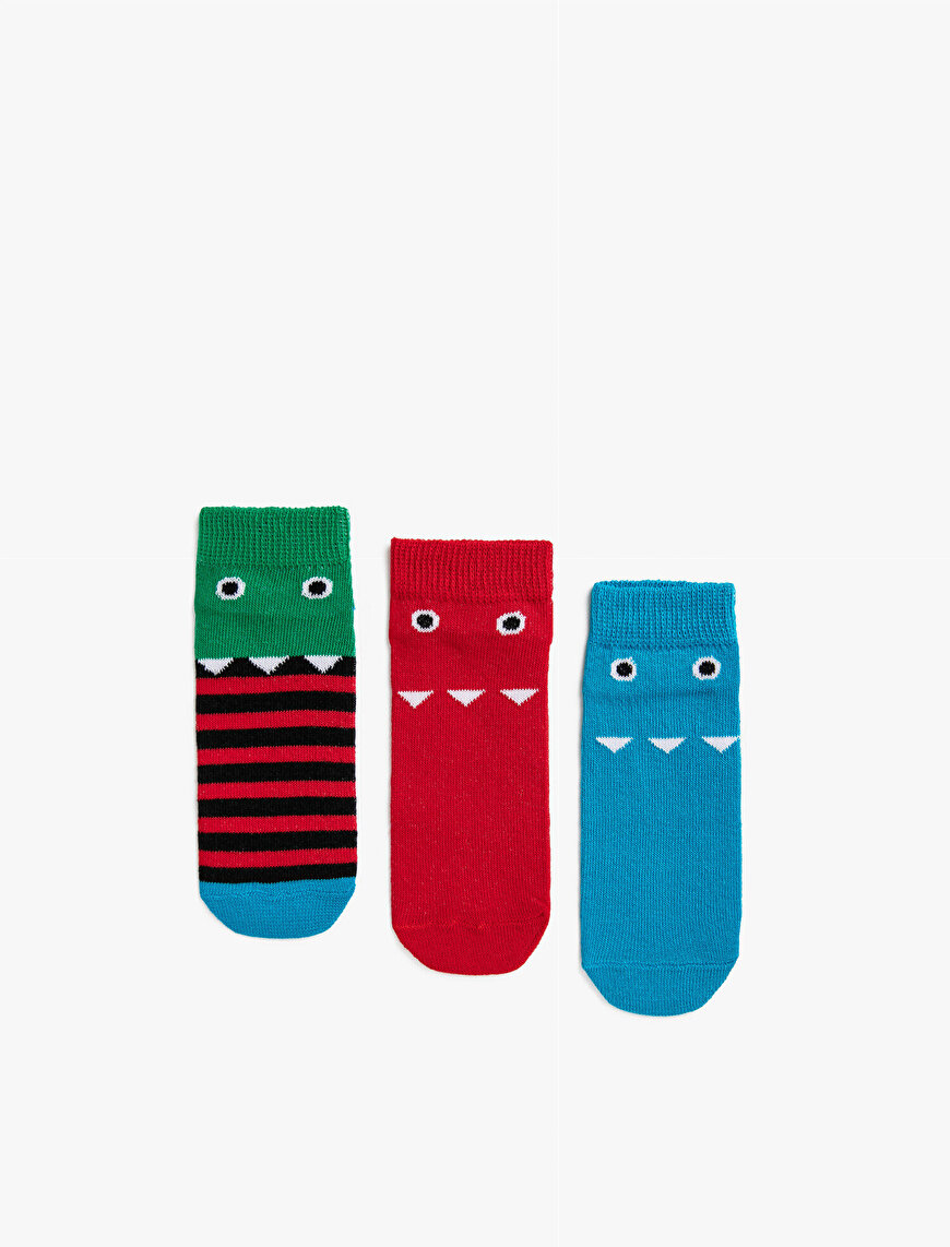 Boy Patterned Socks Set Striped Cotton