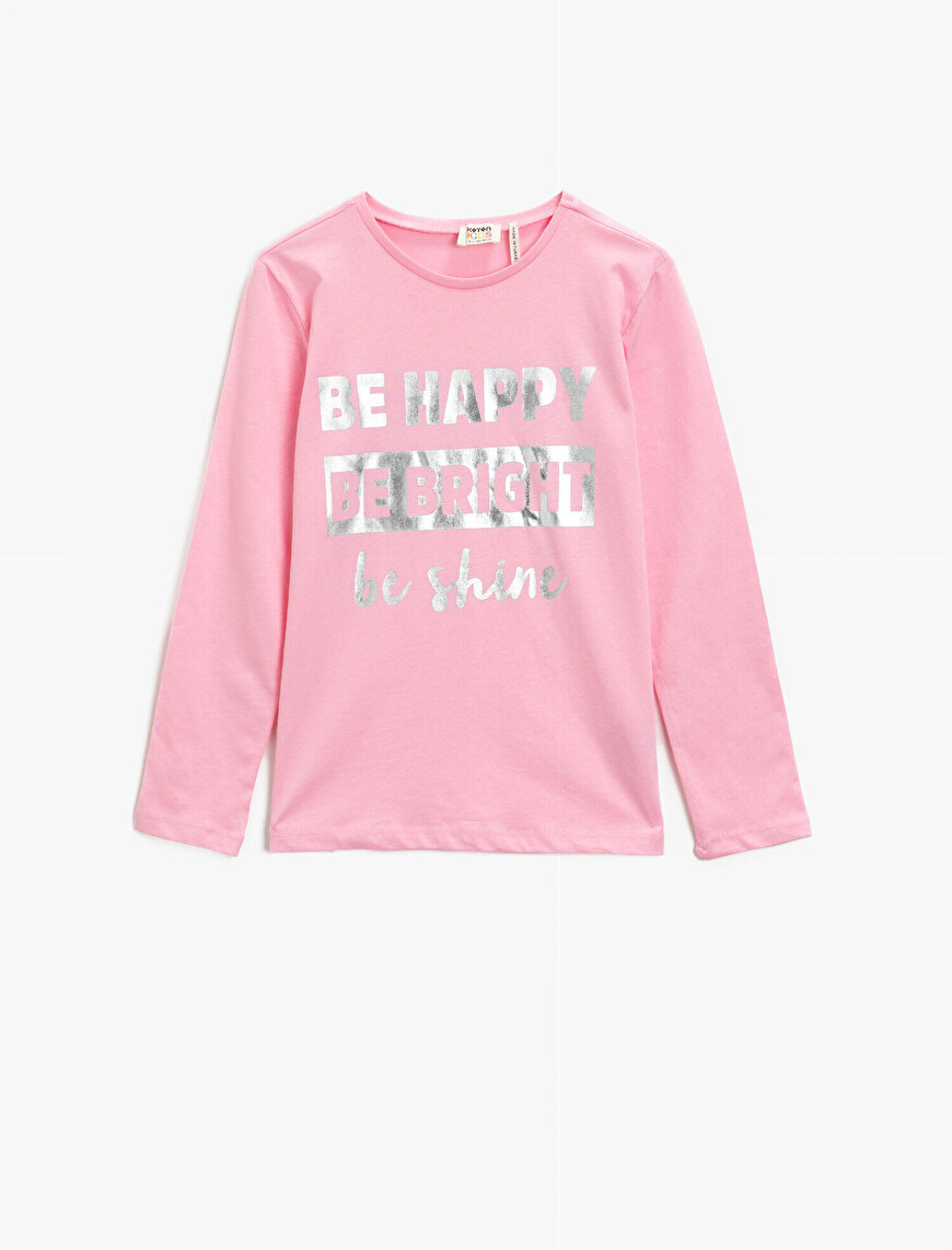 Cotton Letter Printed Crew Neck Long Sleeve T-Shirt