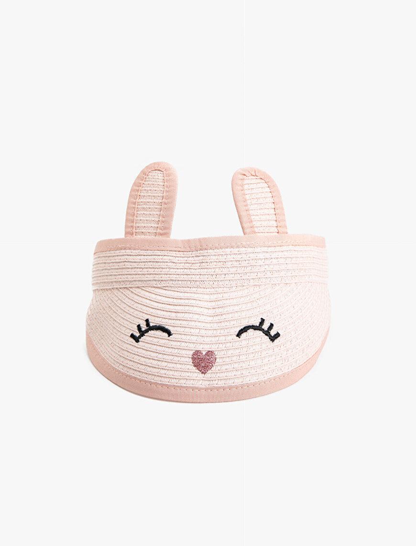 Baskılı Tavşan Kulaklı Hasır Şapka Kız Çocuk
