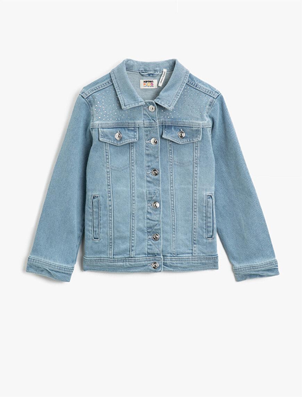 Taşlı Cepli Klasik Yaka Pamuklu Jean Ceket