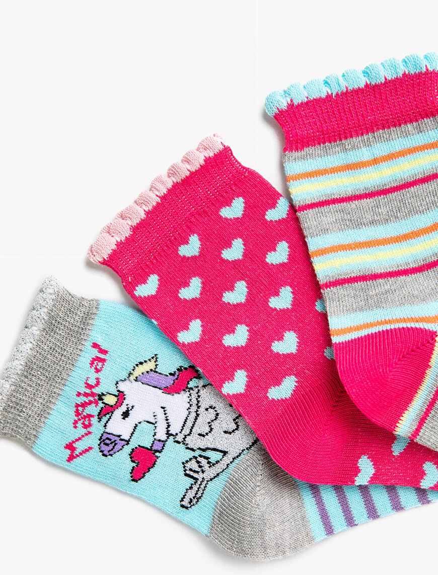 Girl Unicorn Socks Set Cotton Patterned Striped