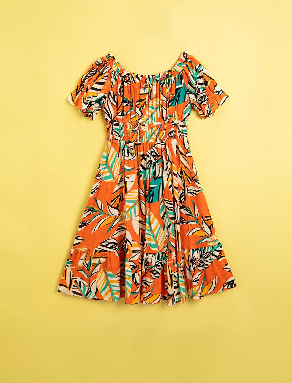 Baskılı Elbise Kısa Kollu