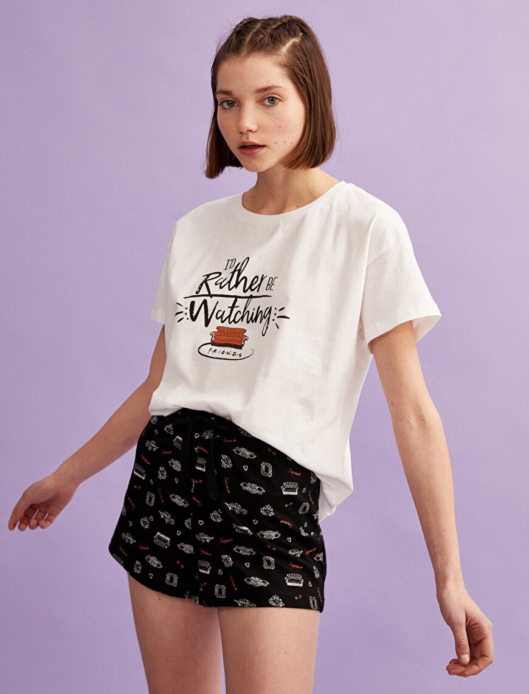 Friends Pijama Takımı Pamuklu Baskılı Kısa Kollu