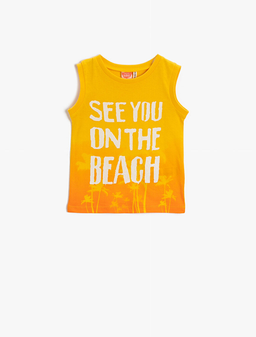 Letter Tanktop Cotton Printed