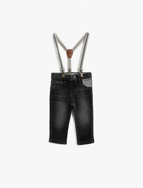 Comfort Strech Pamuklu Askılı Jean Pantolon