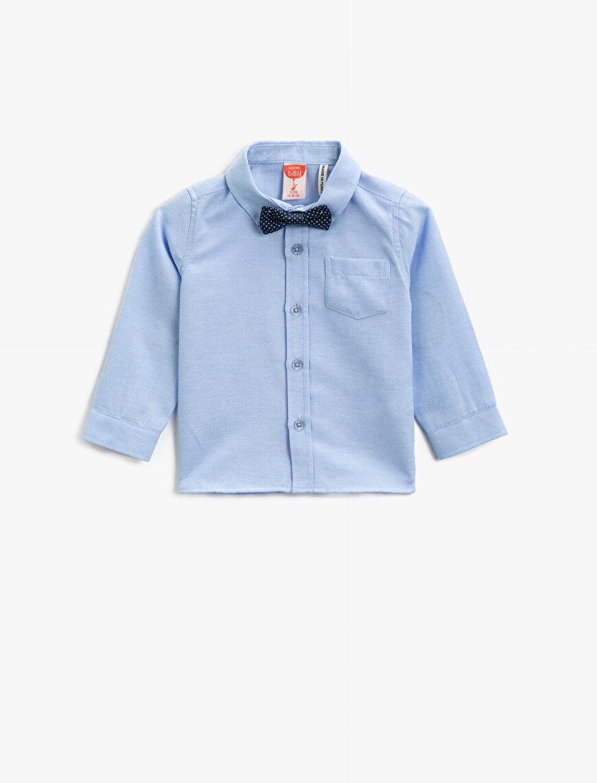 Pamuklu Kravat Detaylı Klasik Yaka Uzun Kollu Gömlek