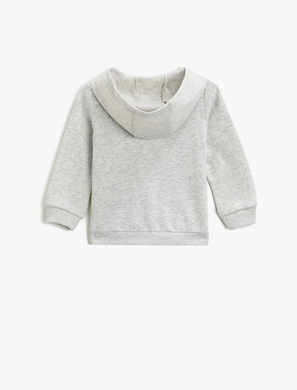 Kapüşonlu Pamuklu Fermuarlı Baskılı Uzun Kollu Sweatshirt