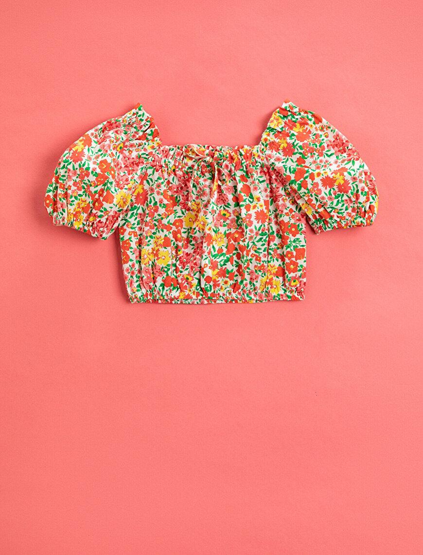 Çiçekli Bluz Kısa Kollu Pamuklu