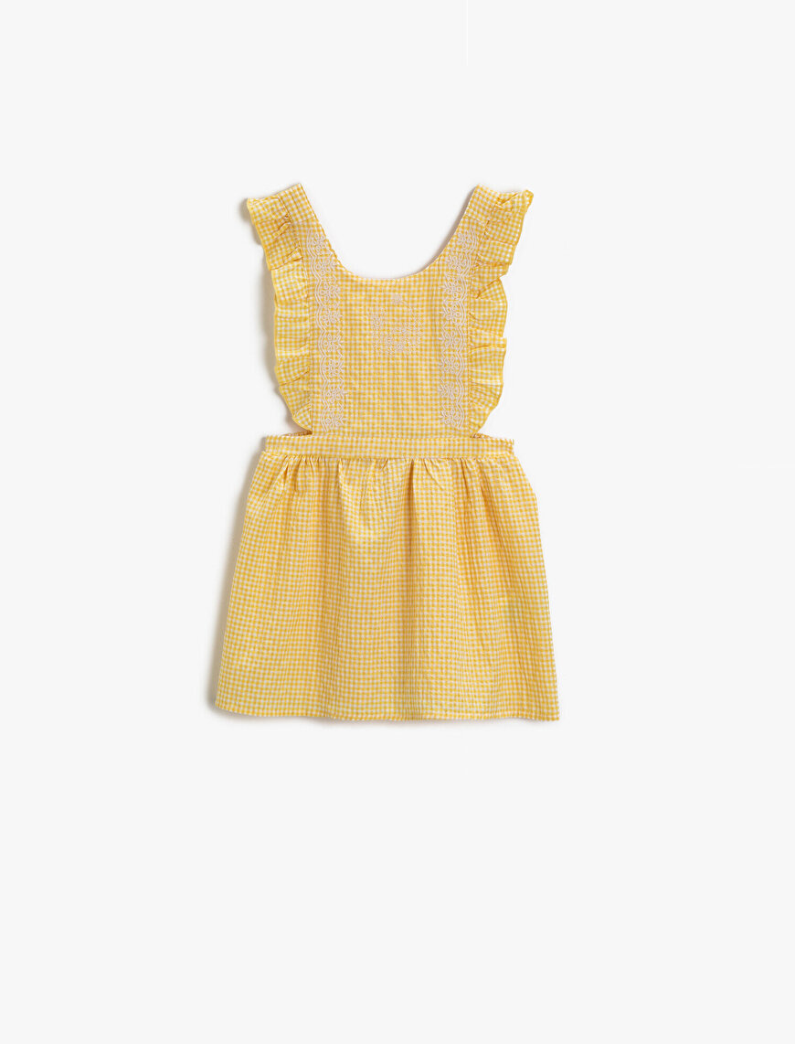 Checked Dress Frilled Cotton