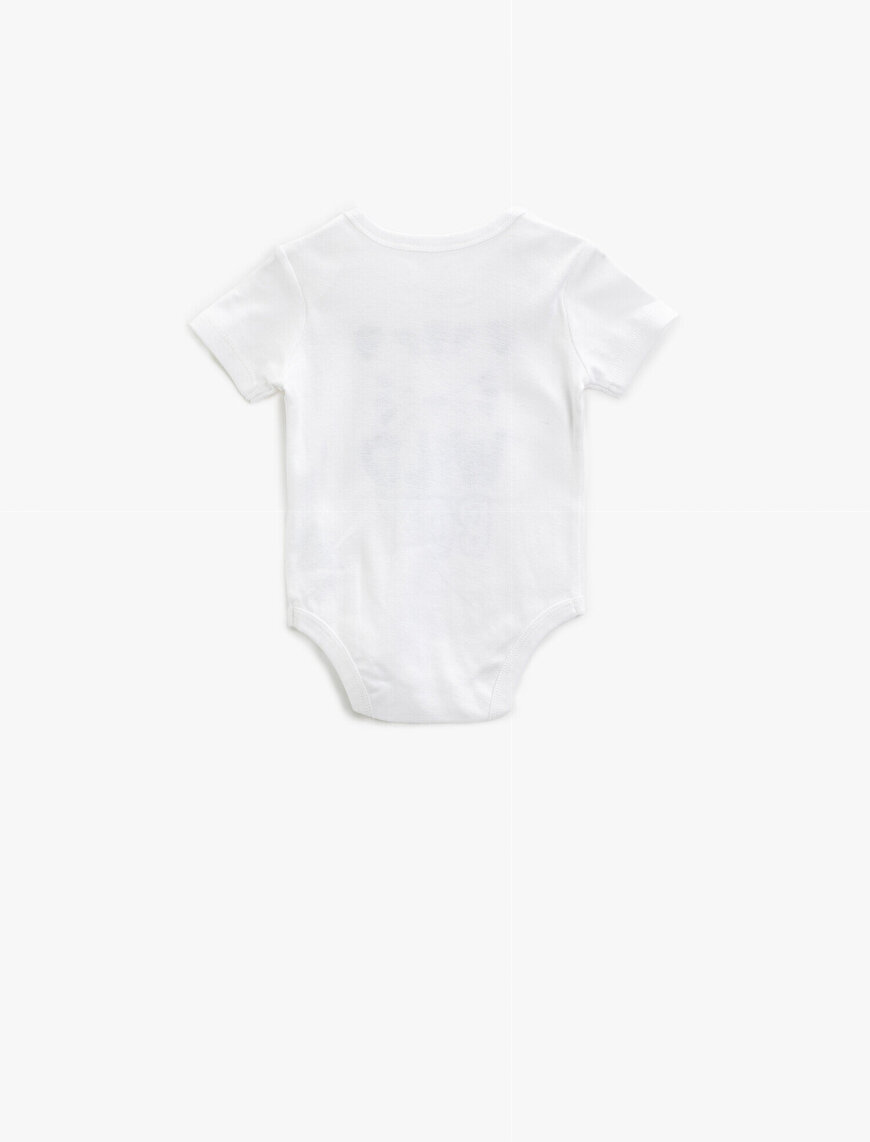 Baskılı Bodysuit Cotton Short Sleeve