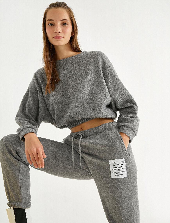Shirred Waist Crop Sweatshirt