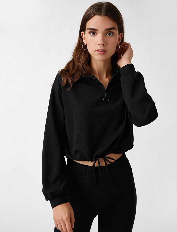 Zippered Collar Sweatshirt Elastic Tied Waist