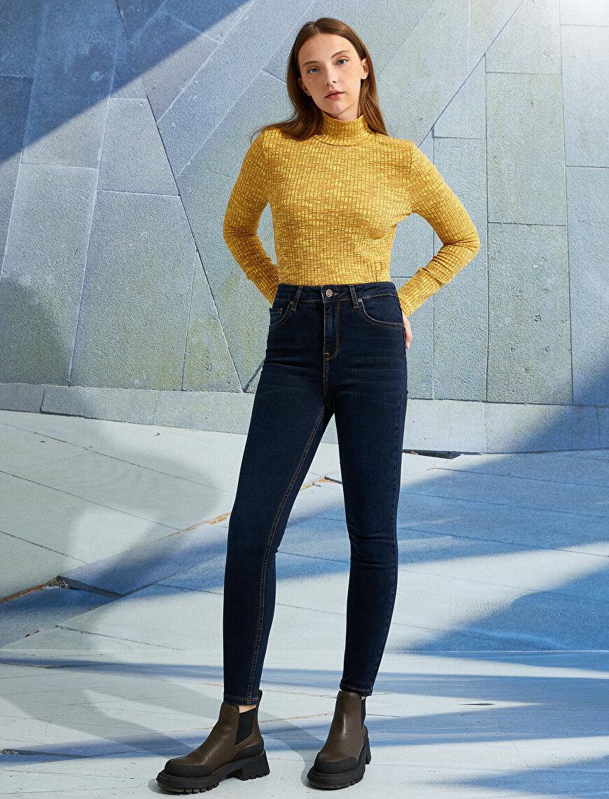 Yüksek Bel Düğmeli Cepli Kot Pantolon - Skinny Fit Jean