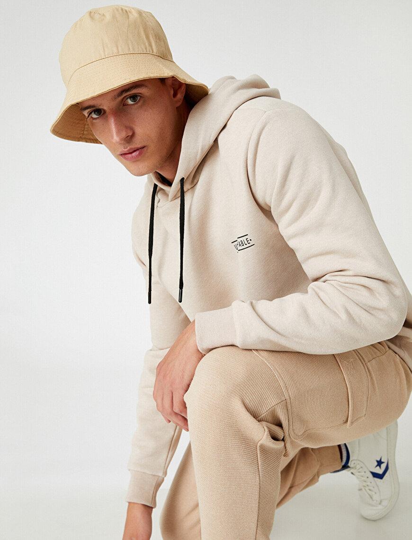 Oversize Minimal Baskılı Kapşonlu Sweatshirt