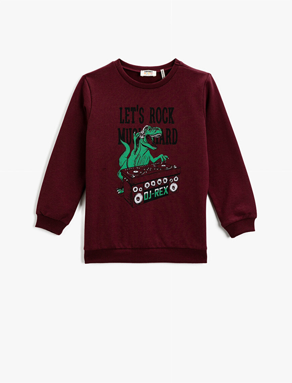 Dinosaur Printed Sweatshirt Cotton Crew Neck