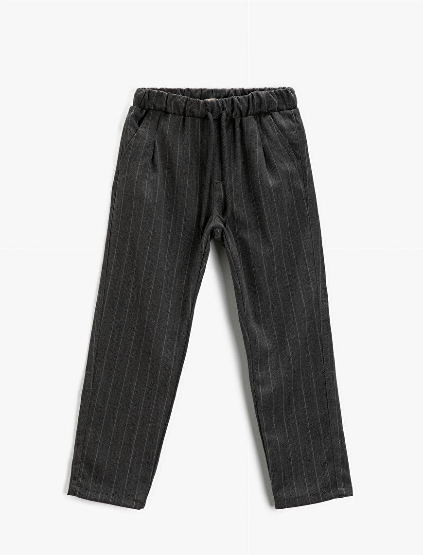 Striped Corduroy Trousers Elastic Waist