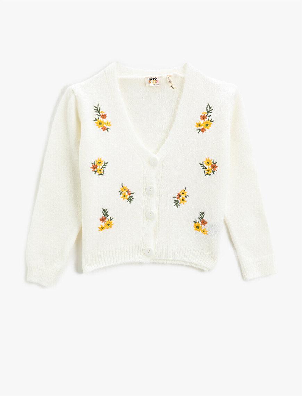 Flower Embroidered Knitwear Cardigan V Neck
