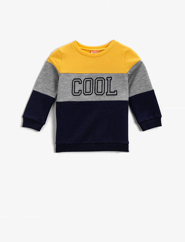Bisiklet Yaka Uzun Kollu Cool Baskılı Sweatshirt Erkek Bebek