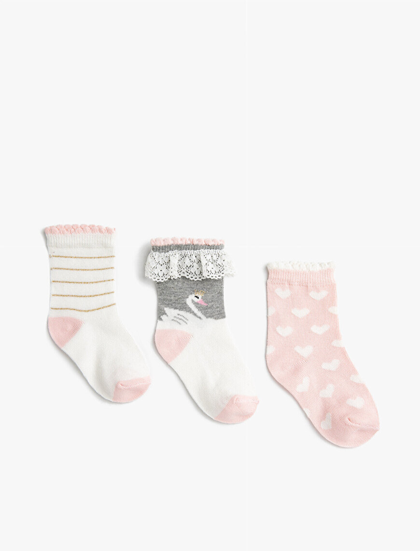 Kız Bebek Baskılı Çorap Set