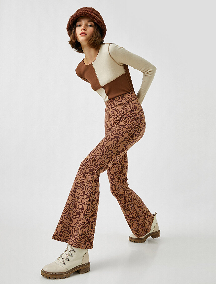Patterned High Waist Flared Trousers