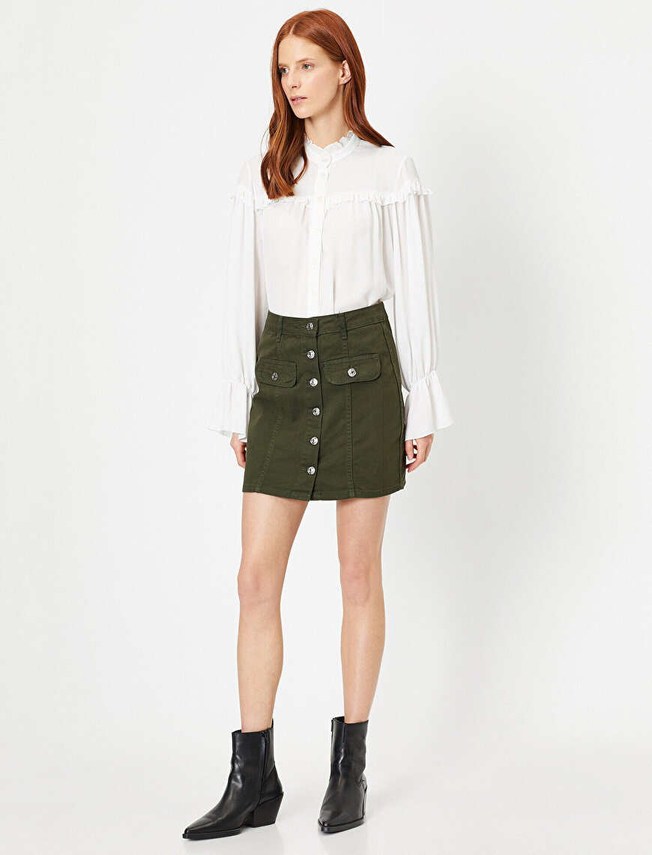 Button Detailed Skirt