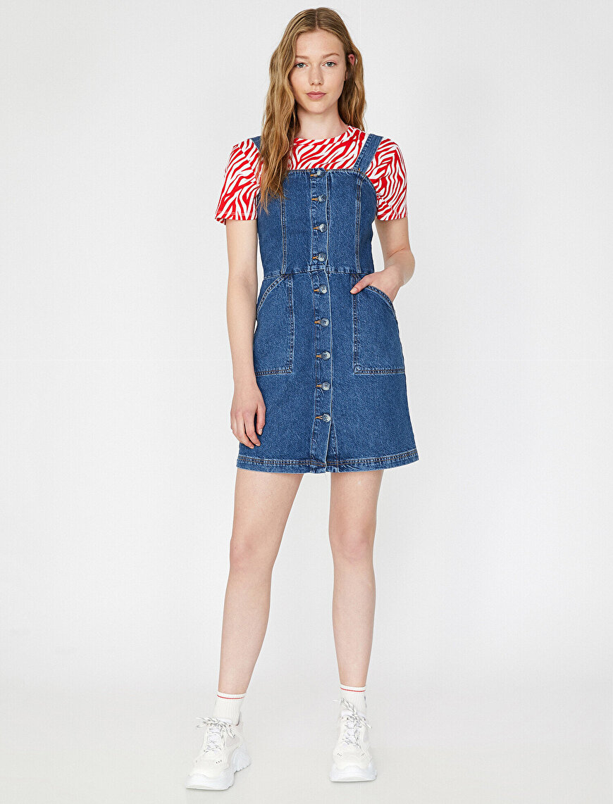 Button Detailed Jean Dress