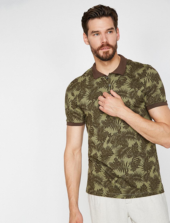 Polo Yaka Yaprak Desenli Süprem Kumaş Slim Fit Tişört