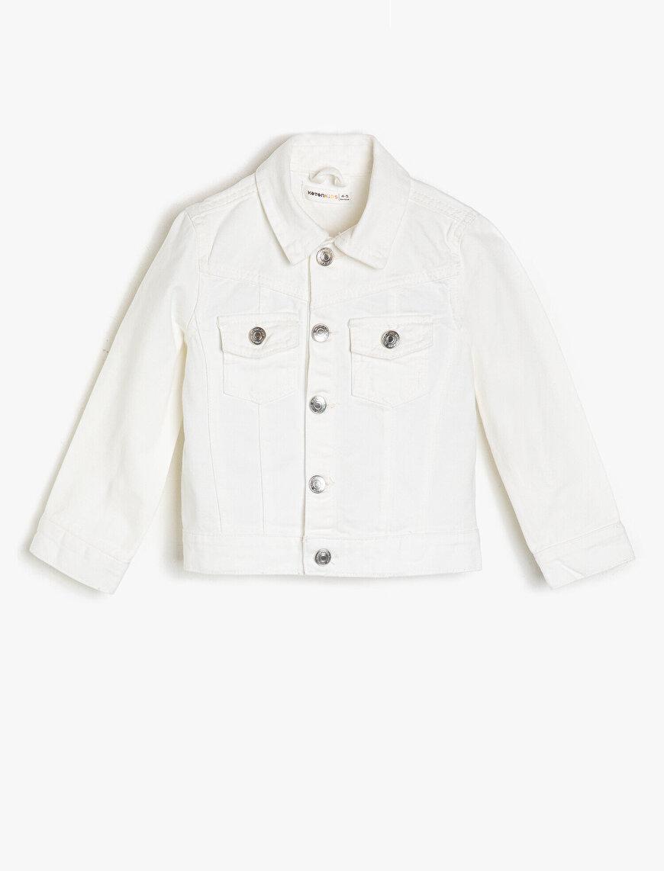 Cepli Parlak Düğmeli Normal Boy Jean Ceket