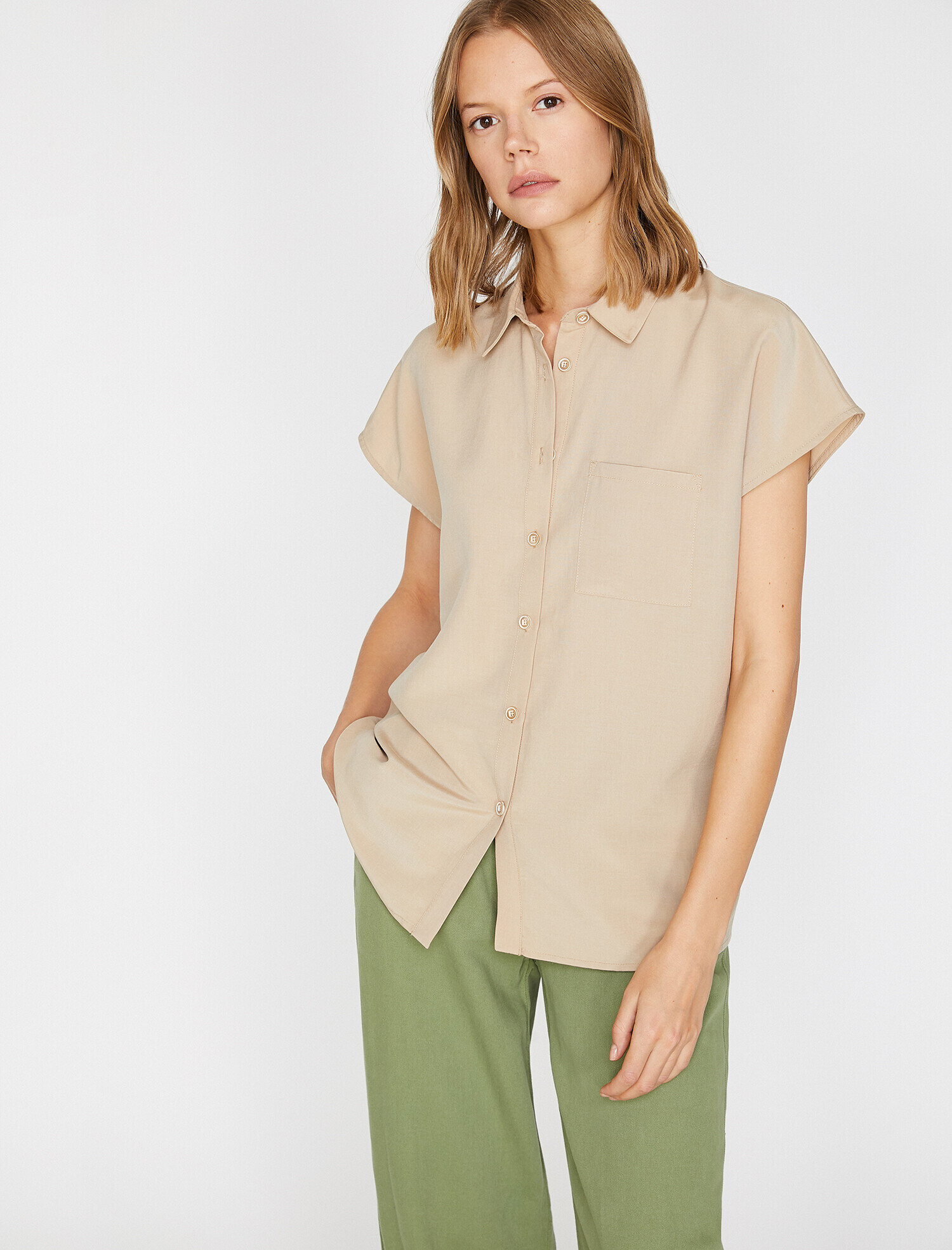 Koton Kadın Cep Detaylı Gömlek