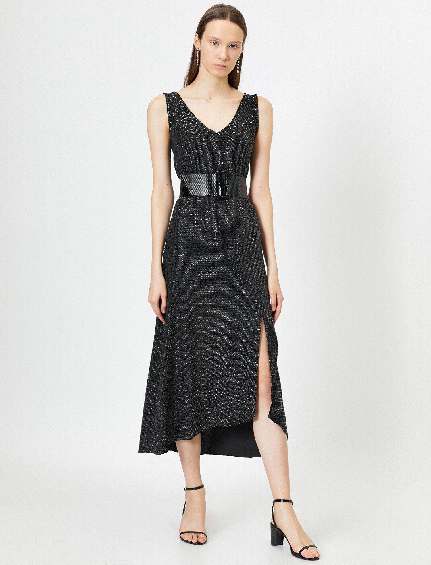 Koton Kadın V Yaka Yirtmaç Detayli Askili Uzun Elbise