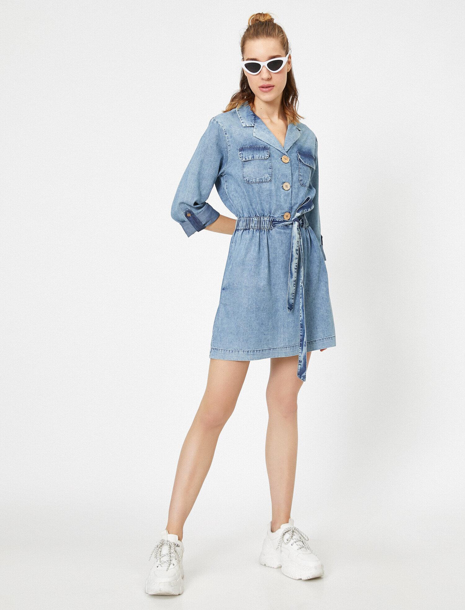 Koton Kadın Gömlek Yaka Dügme Detayli Cepli Beli Baglamali Midi Jean Elbise