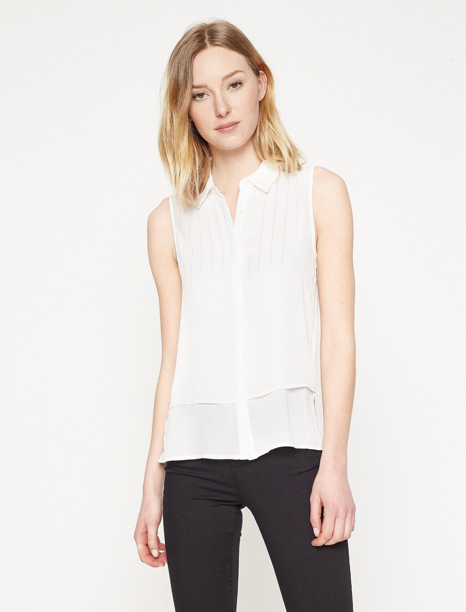 Koton Kadın Çizgili Gömlek Beyaz Ürün Resmi