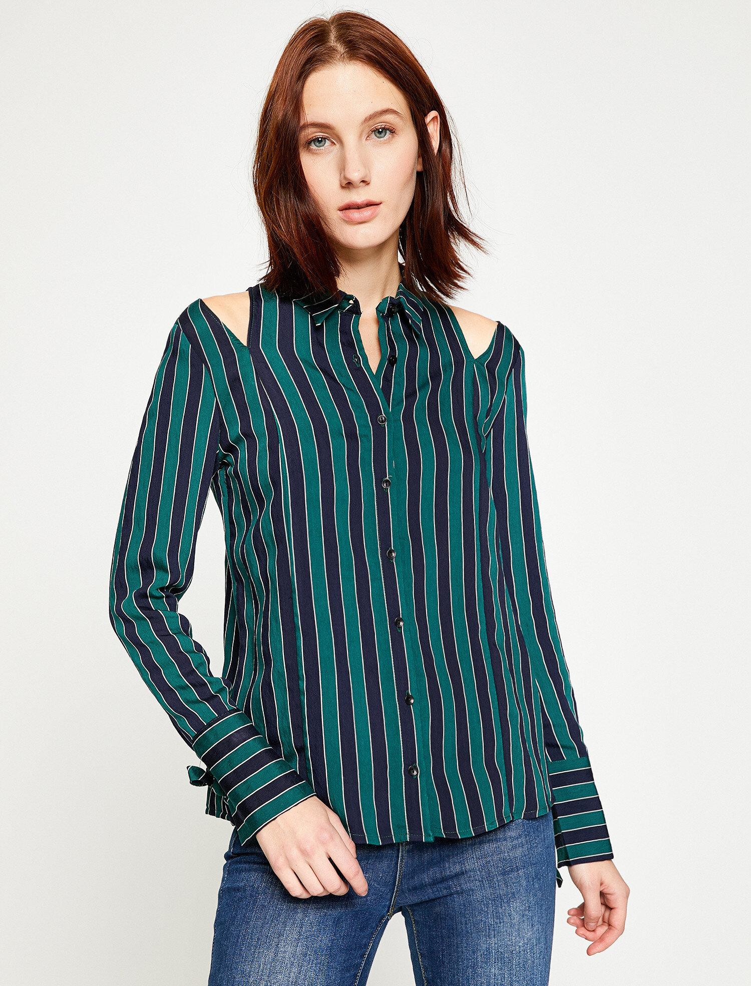 Koton Kadın Çizgili Bluz Lacivert Ürün Resmi
