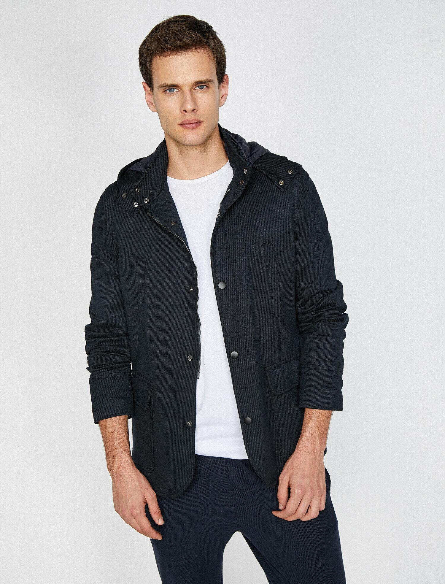 Koton Erkek Kapüsonlu Blazer Ceket Lacivert Ürün Resmi