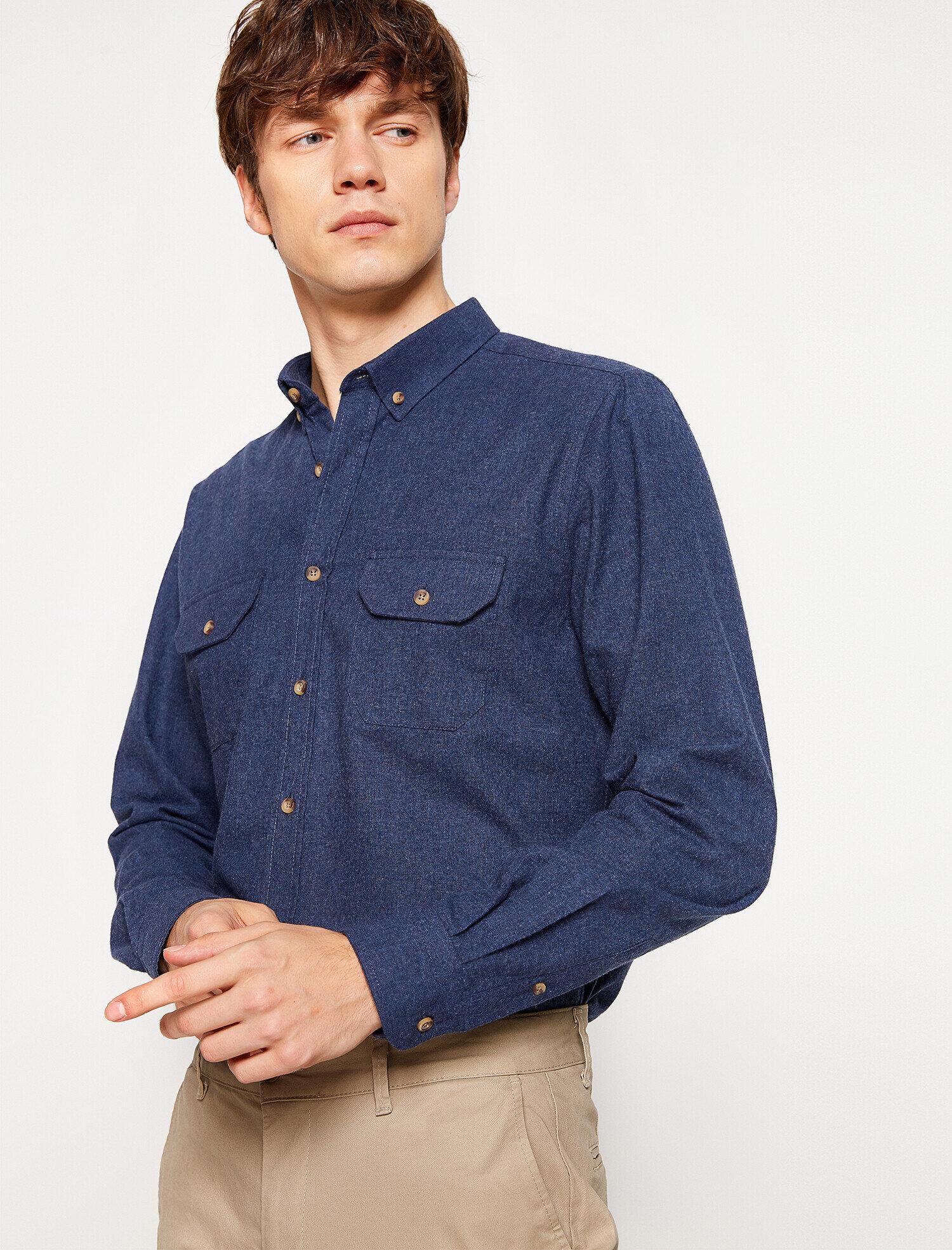 Koton Erkek Cep Detayli Gömlek Lacivert Ürün Resmi