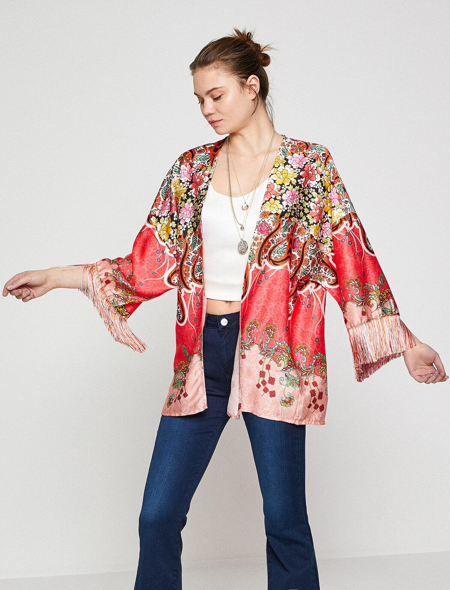 Koton Kadın Desenli Kimono Kırmızı Ürün Resmi