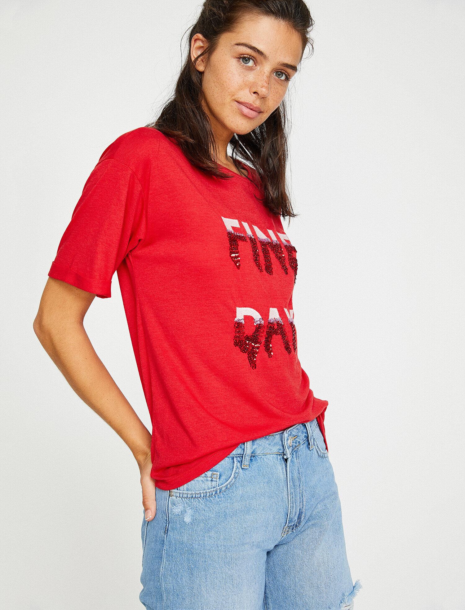 Koton Kadın Pul Detayli T-Shirt