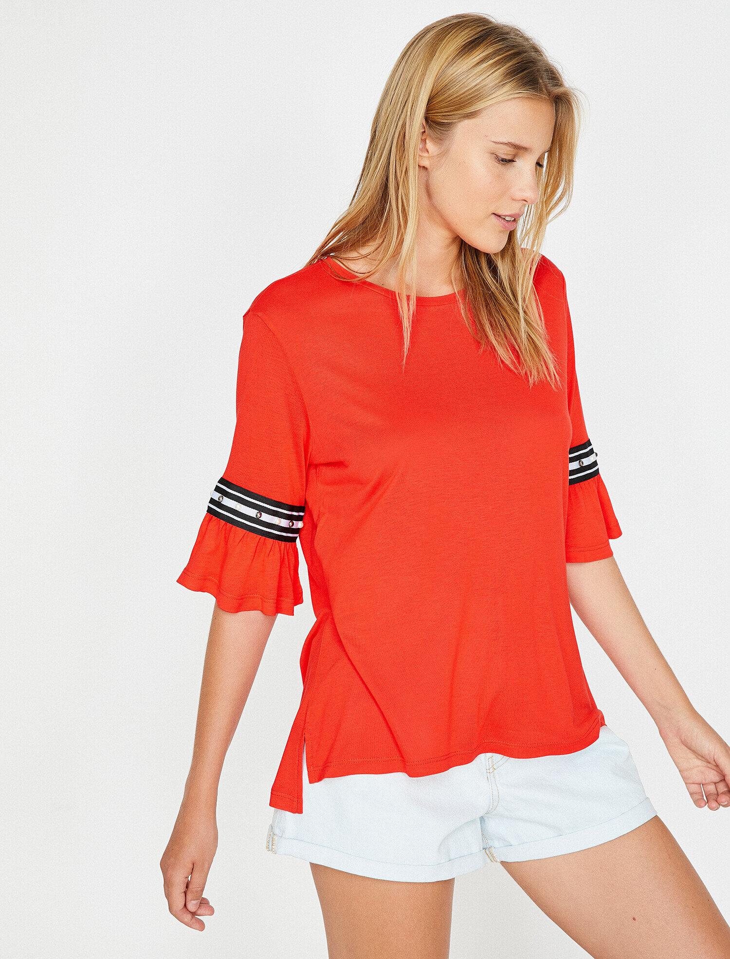 Koton Kadın Firfir Detayli T-Shirt Kırmızı Ürün Resmi