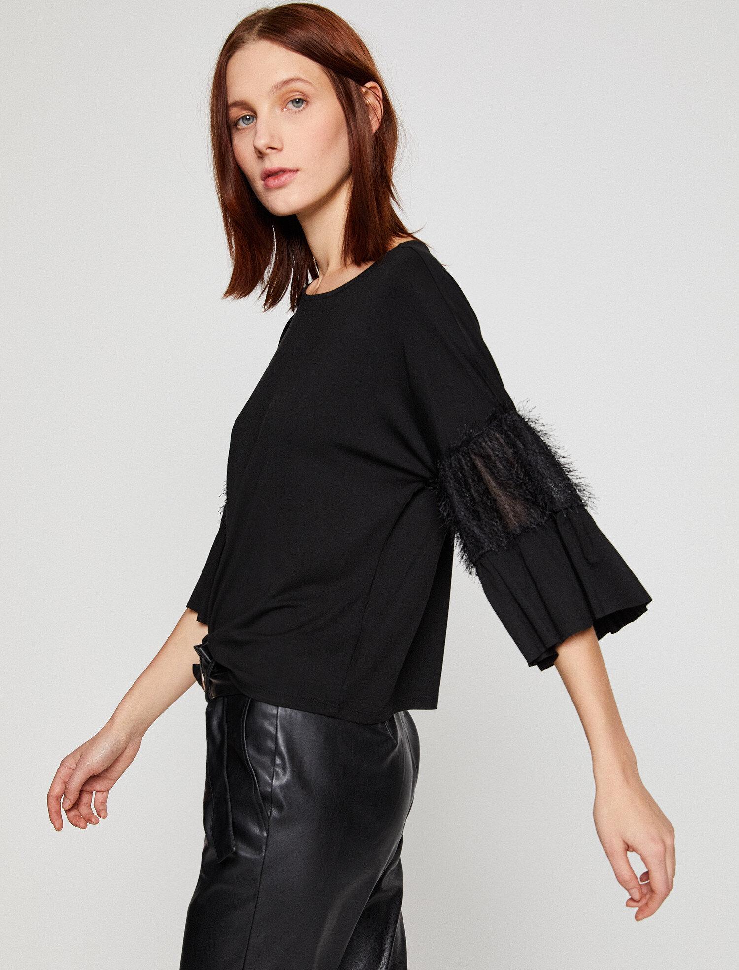 Koton Kadın Tül Detayli T-Shirt