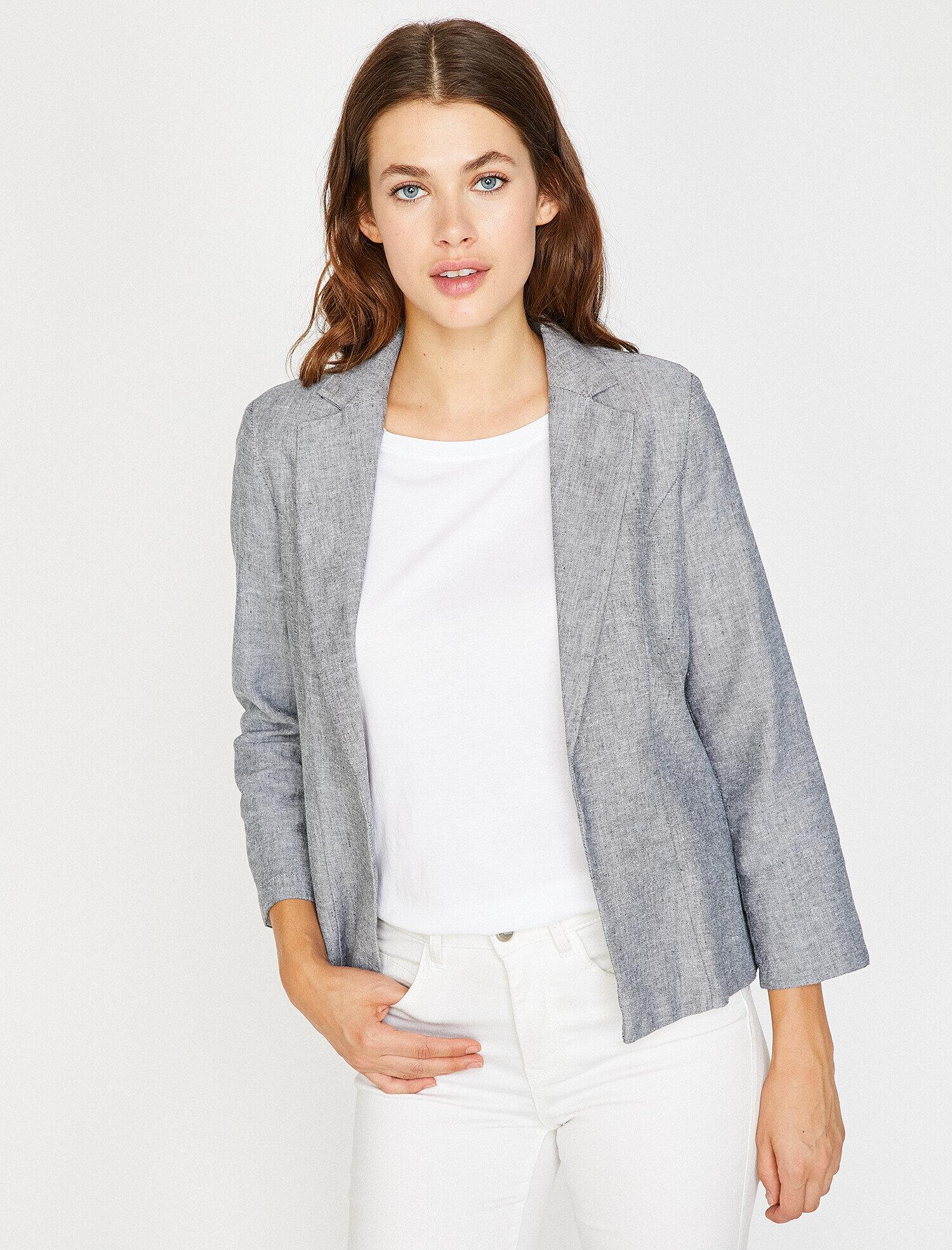 Koton Kadın Klasik Yaka Ceket Gri Ürün Resmi