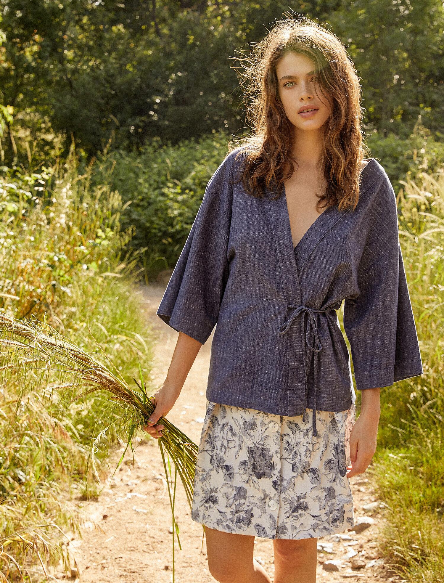 Koton Kadın Beli Baglamali Ceket Mavi Ürün Resmi