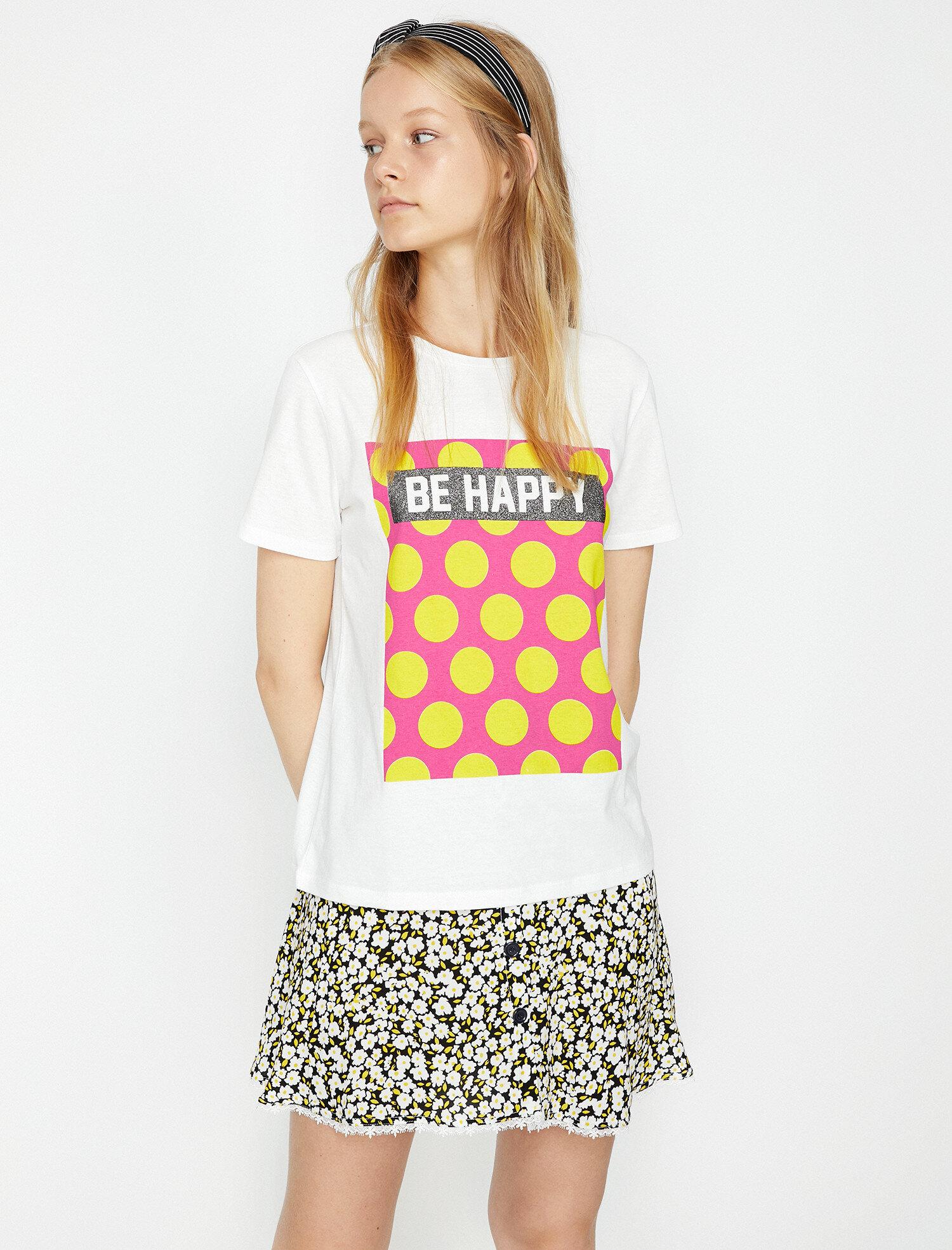 Koton Kadın Baskili T-Shirt Beyaz Ürün Resmi