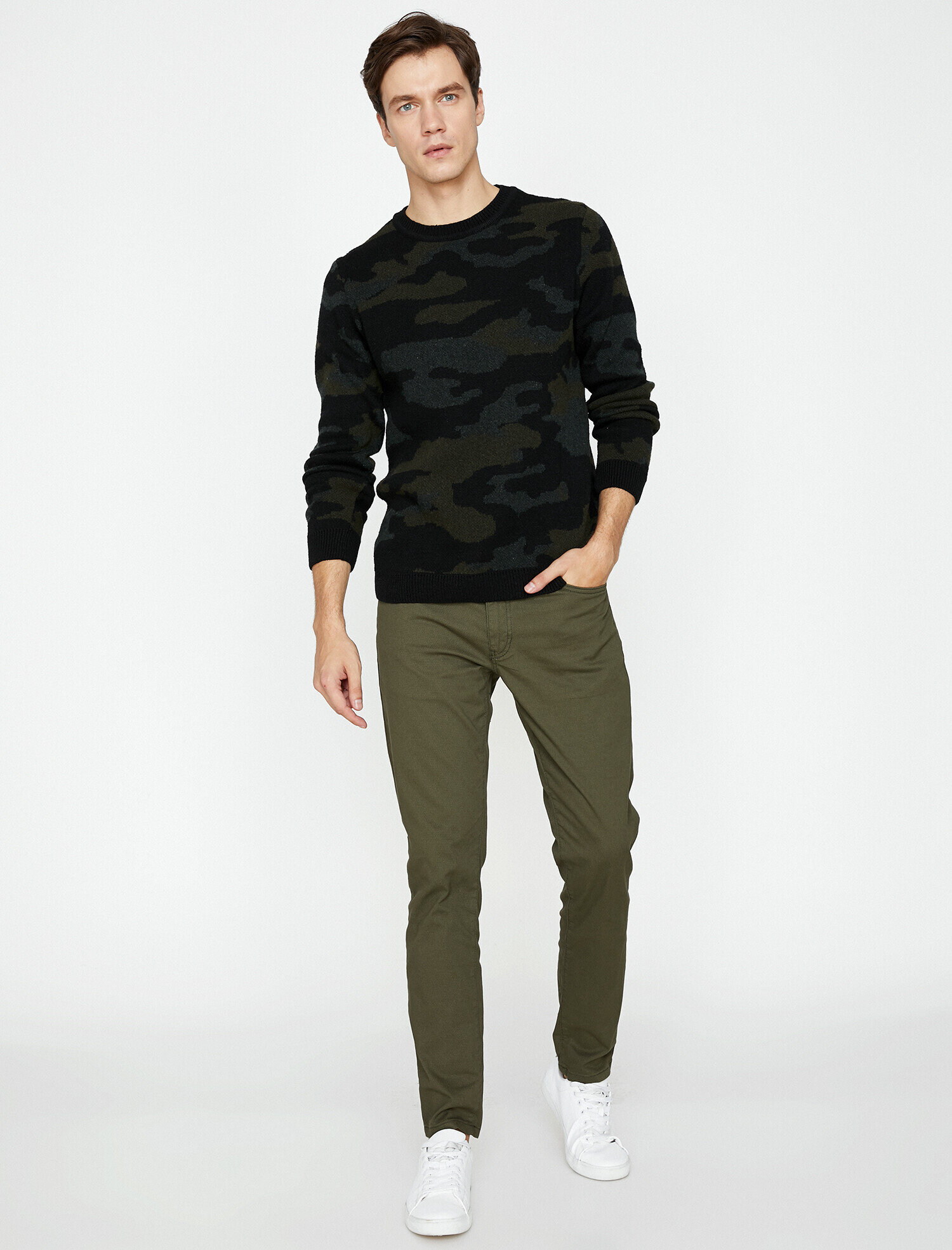 Koton Erkek Dar Kesim Pantolon Yeşil Ürün Resmi