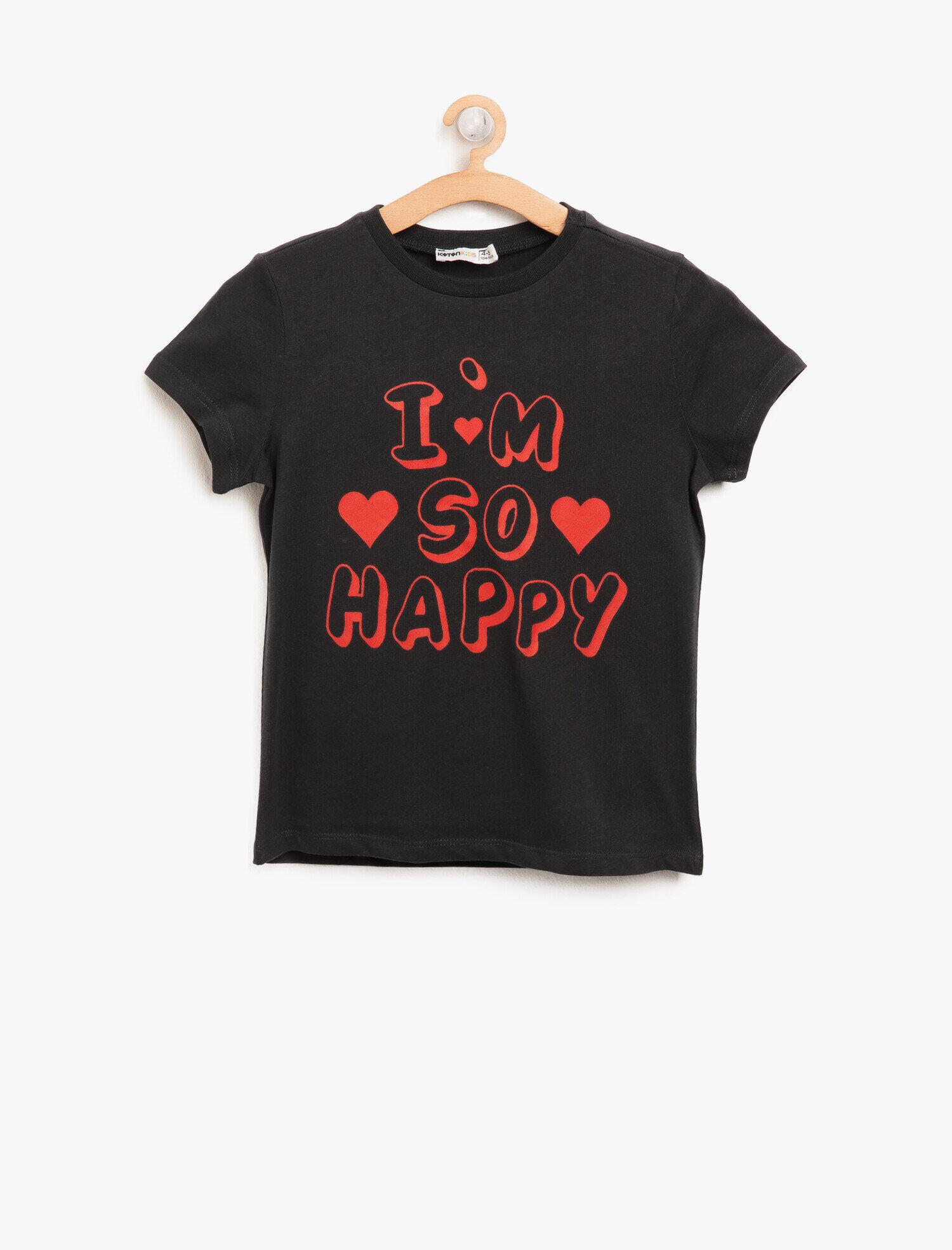 Koton Kız Çocuk Yazili Baskili T-Shirt Siyah Ürün Resmi