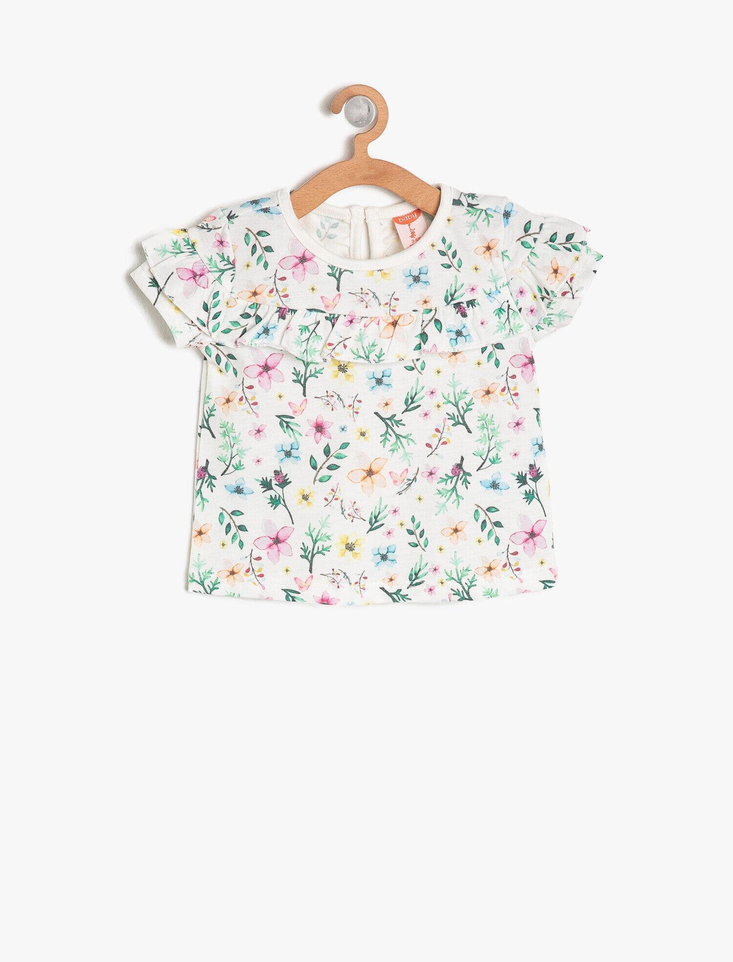 Koton Kız Çocuk Desenli T-Shirt Ekru Ürün Resmi