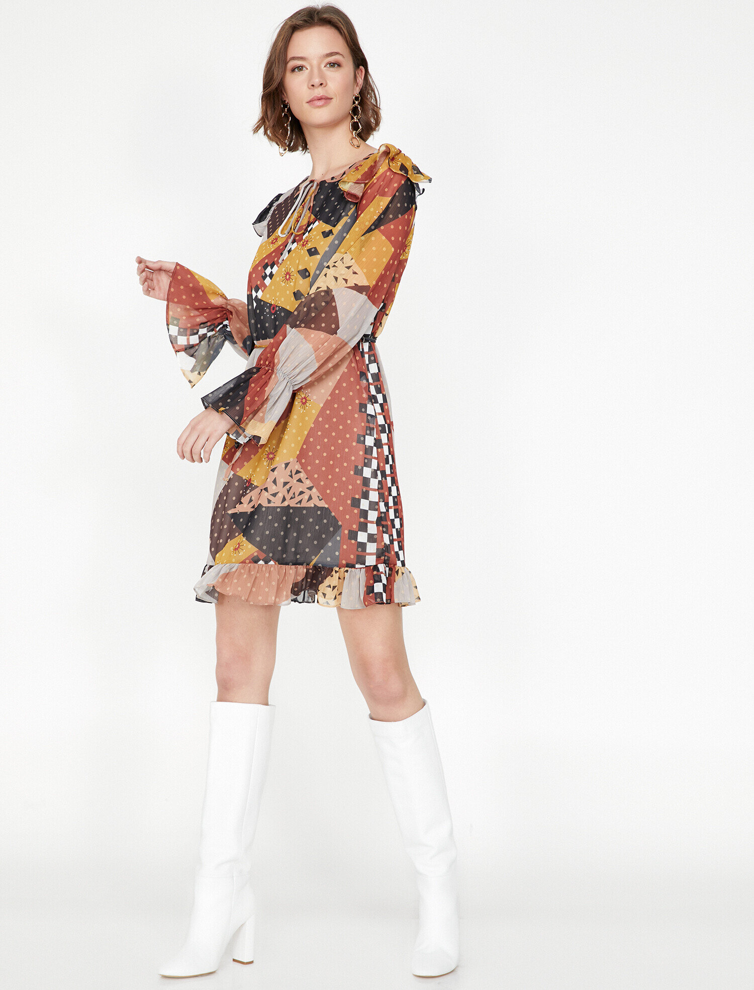 Koton Kadın Desenli Elbise Kahve Ürün Resmi